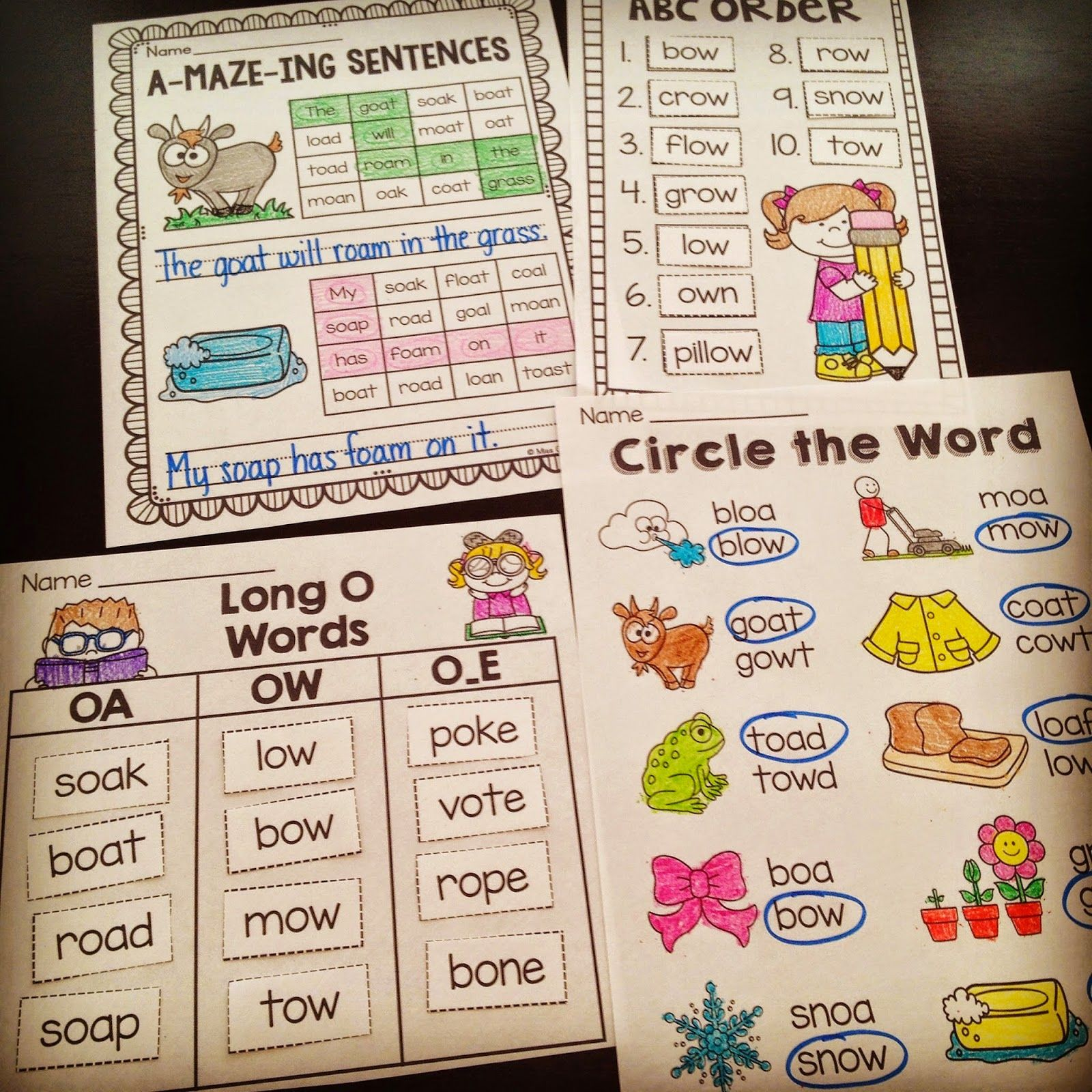 Awesome Oa Ow Worksheets And Activities To Teach The Long O Oa And Ow Sounds