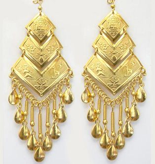 Inca Pyramids 18k Gold Plated Chandelier Earrings