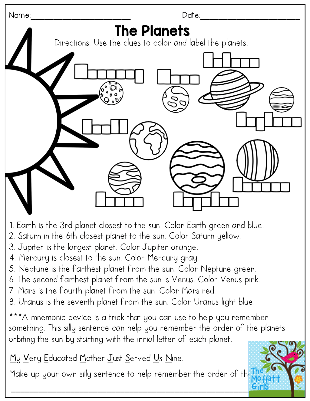 The Planets Read And Color Then Come Up With A Mnemonic Device To Remember The Order