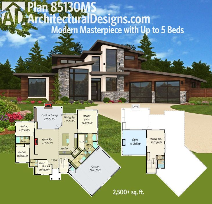 Plan MS Modern Masterpiece with Up to  Beds  Modern house
