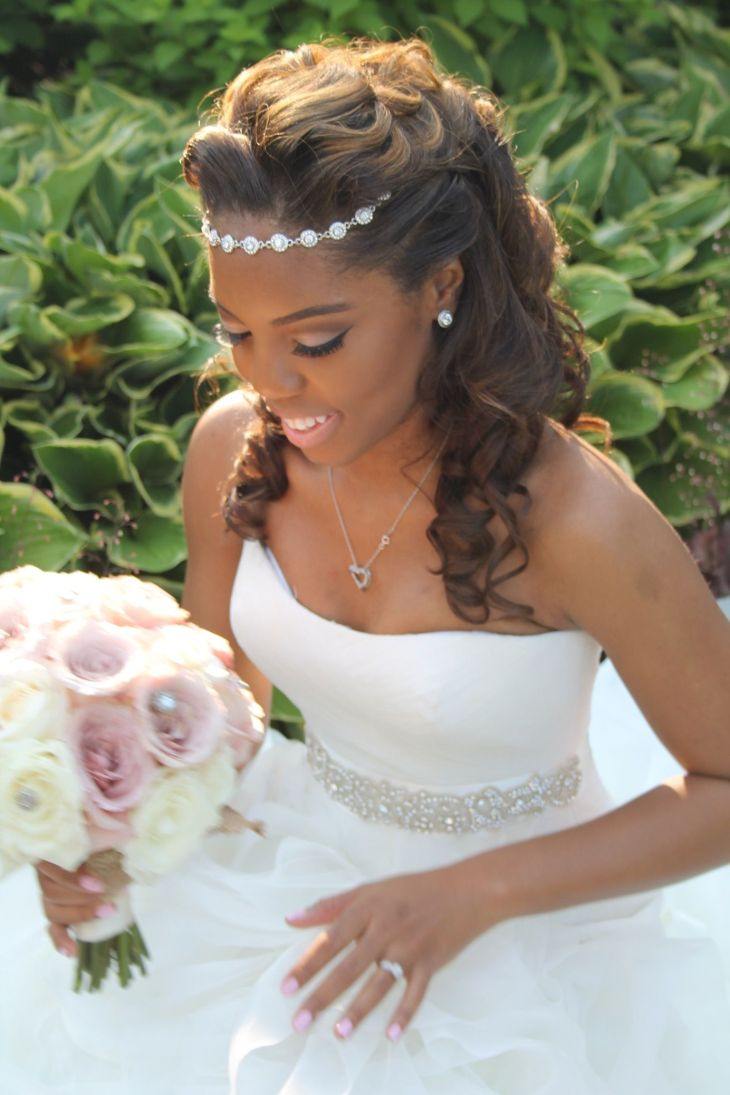Elegant bridal updo hairstyle Halo hair piece No vail wedding