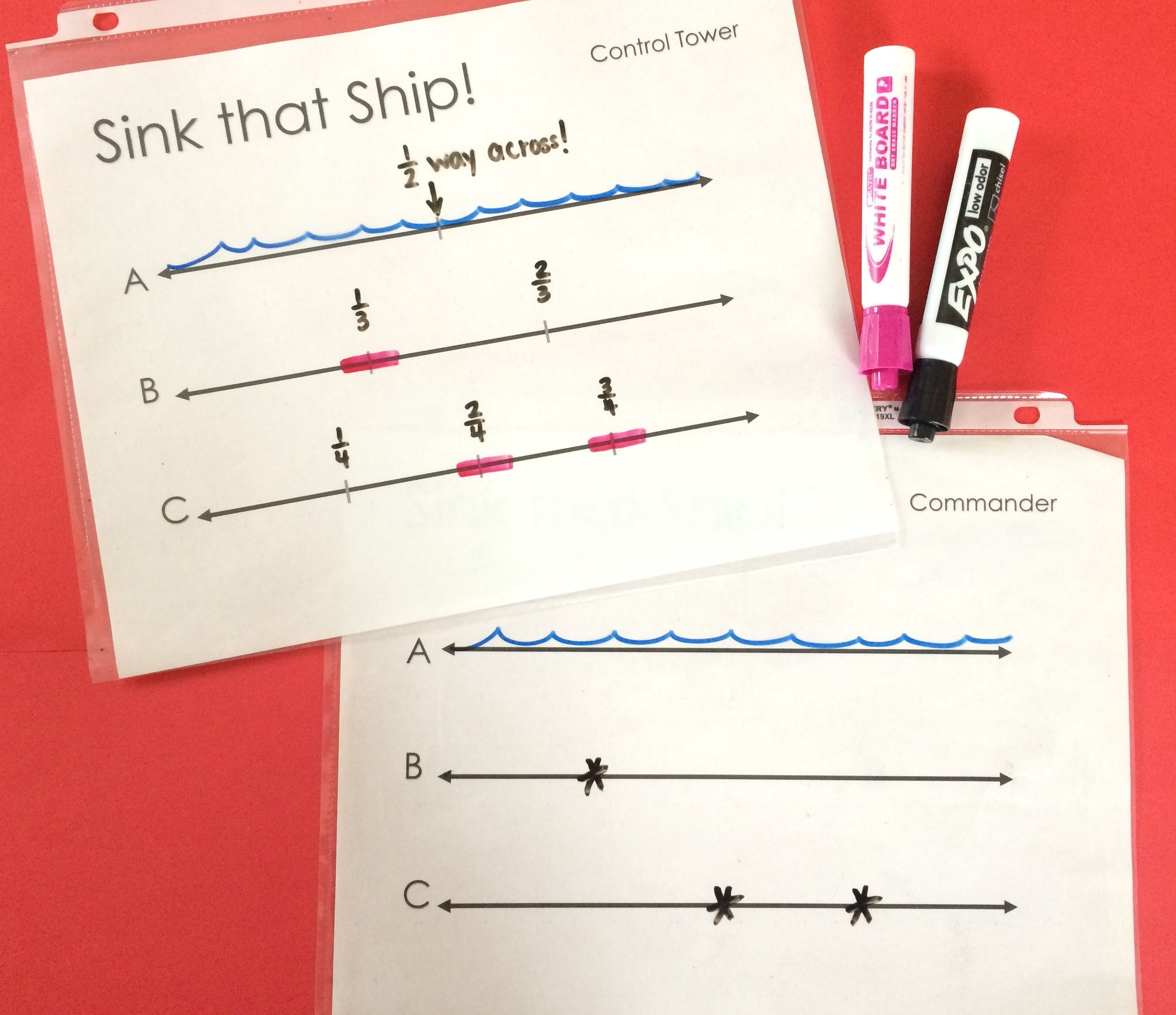 Practice Locating Fractions On A Number Line With Sink That Ship