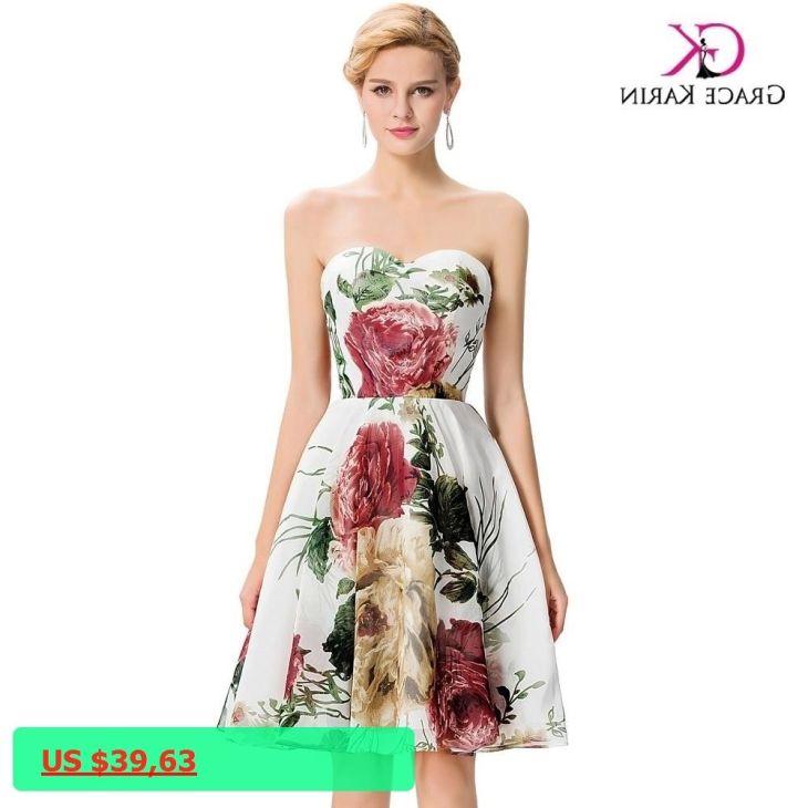 Cheap Short Bridesmaid Dresses under Grace Karin Floral Print