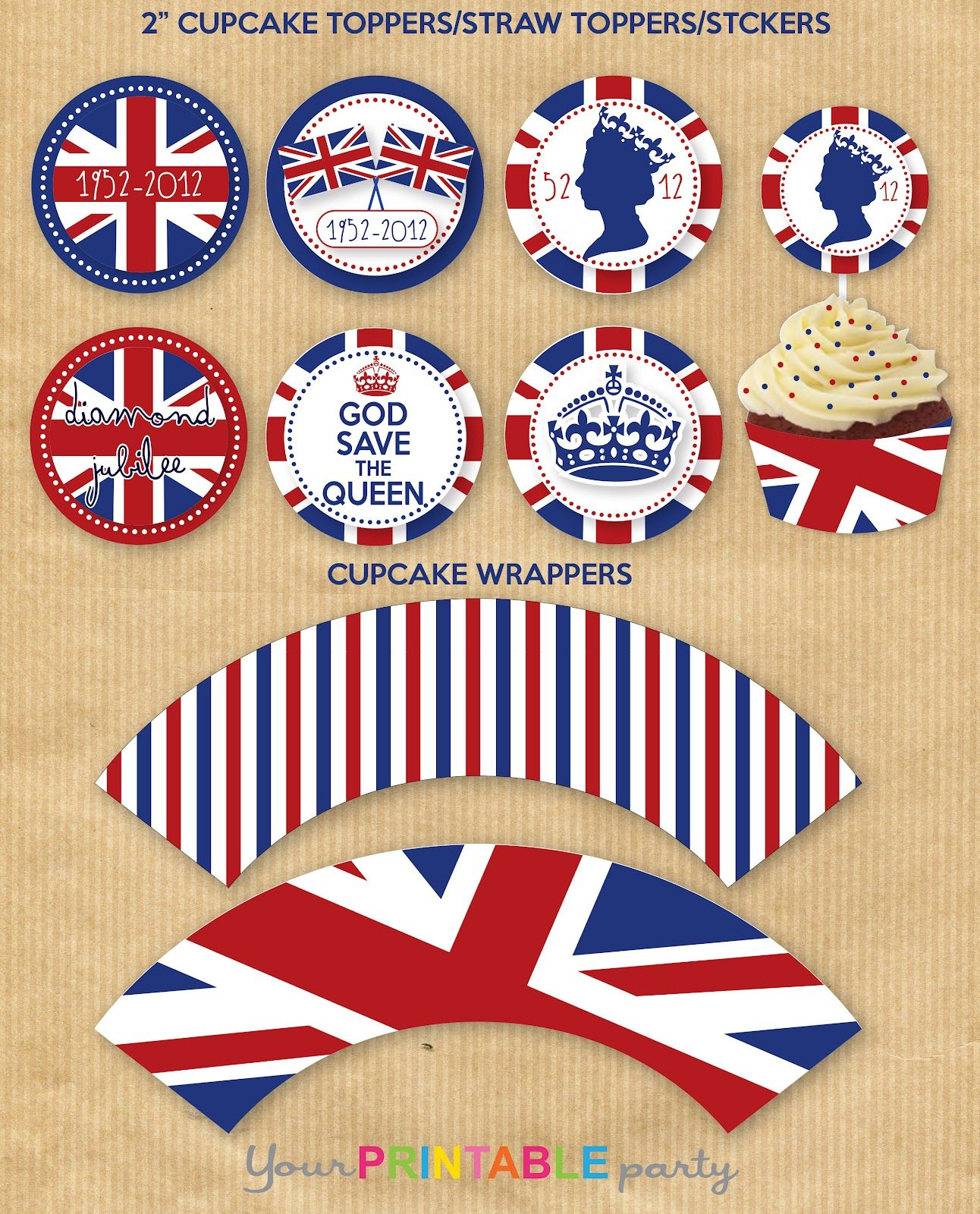 Printable British Union Jack Cupcake Wrappers Amp Picks Print Them Out Then Add Zombie Beatles