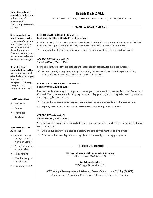 sample resume for security guard position resume sample