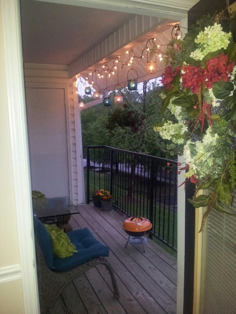 apartment chic patio decorating idea irresistible lighting pinterest patio decorating on christmas balcony decorations apartment patio id=65398