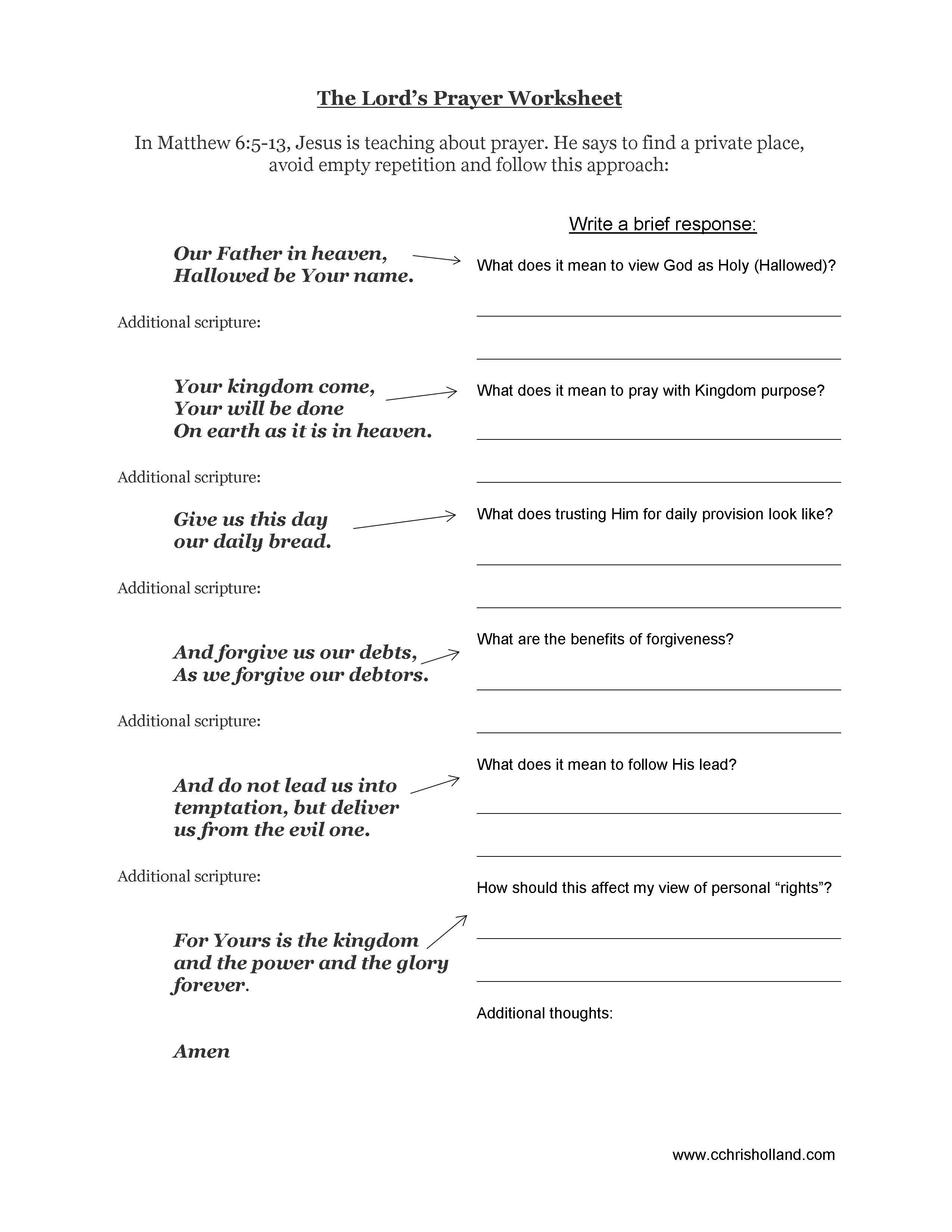 The Lords Prayer Worsheet
