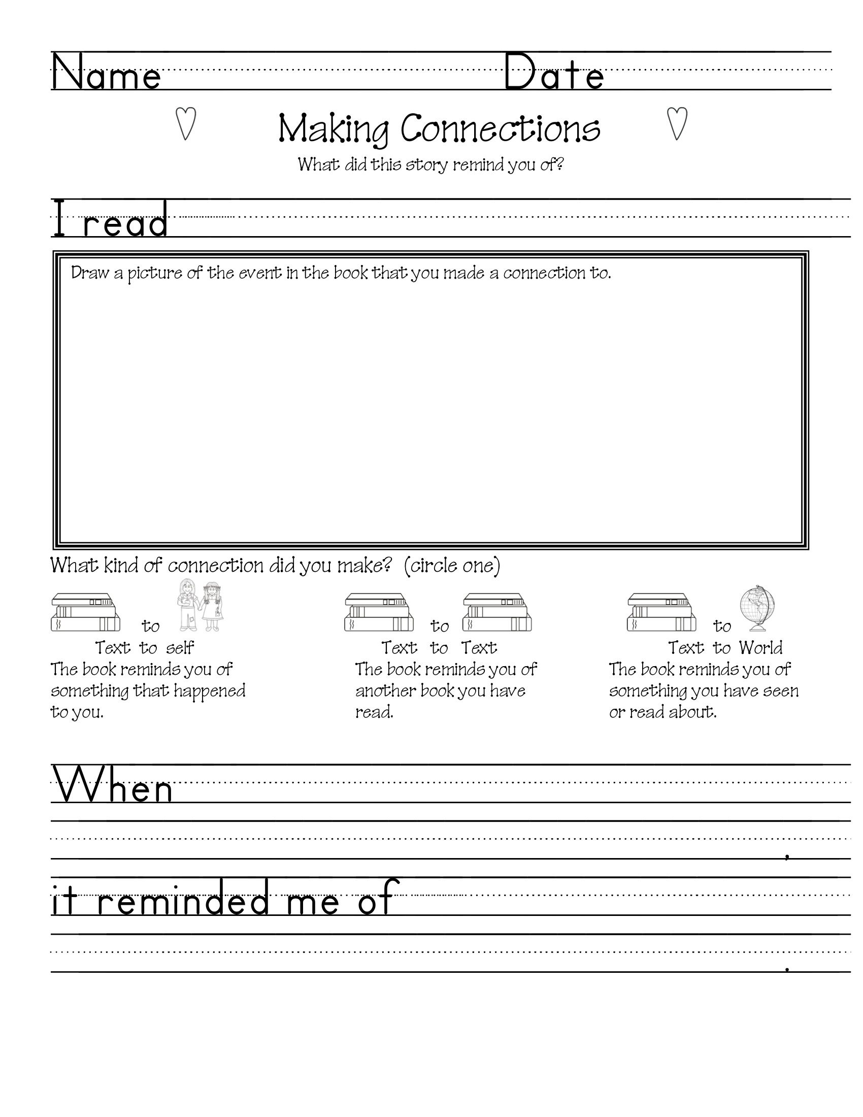 Snake Making Connections Worksheet