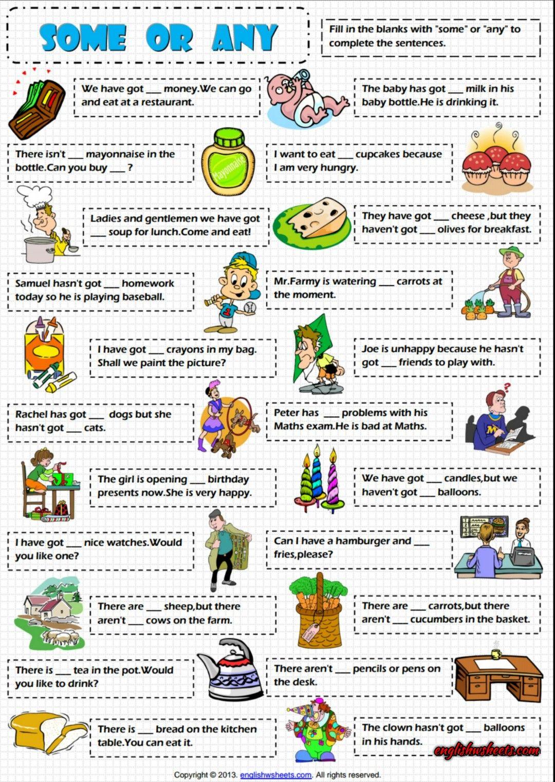 Some Or Any Esl Grammar Exercise Worksheet