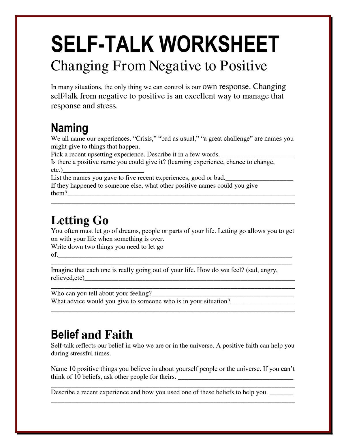 Dealing With Anxiety Worksheet
