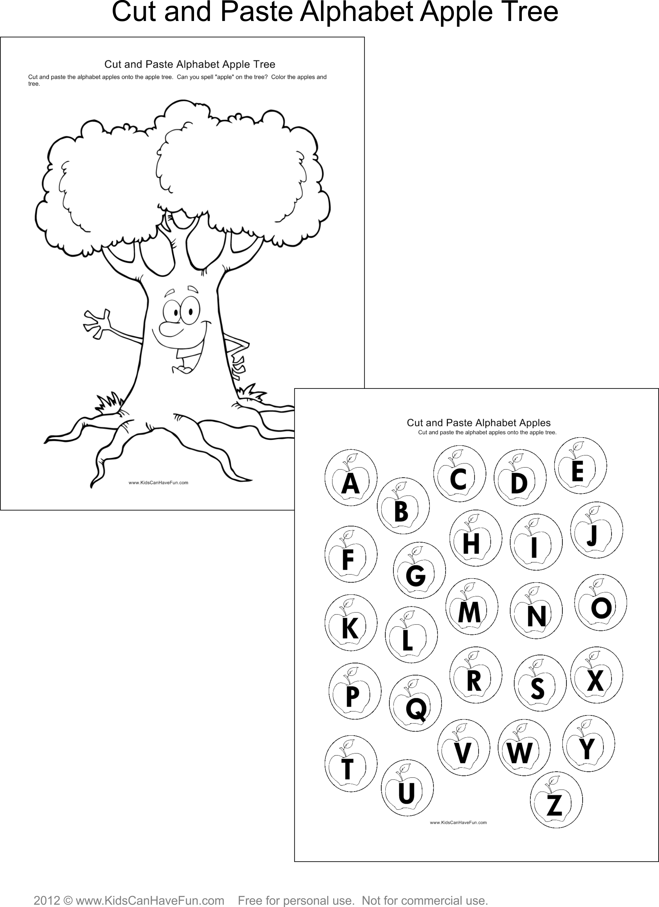 Cut And Paste Alphabet Apple Tree Dscanhavefun Cut Paste Activities