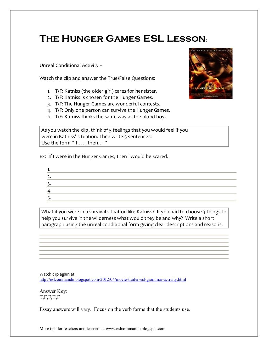 The Hunger Games Esl Lesson By Phricee Via Slideshare