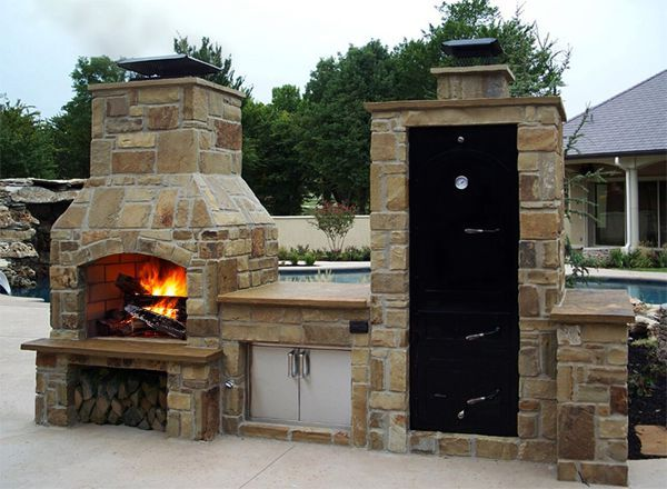 big pig smoker with island and fireplace food pinterest backyard kitchens and outdoor living on outdoor kitchen with smoker id=40776