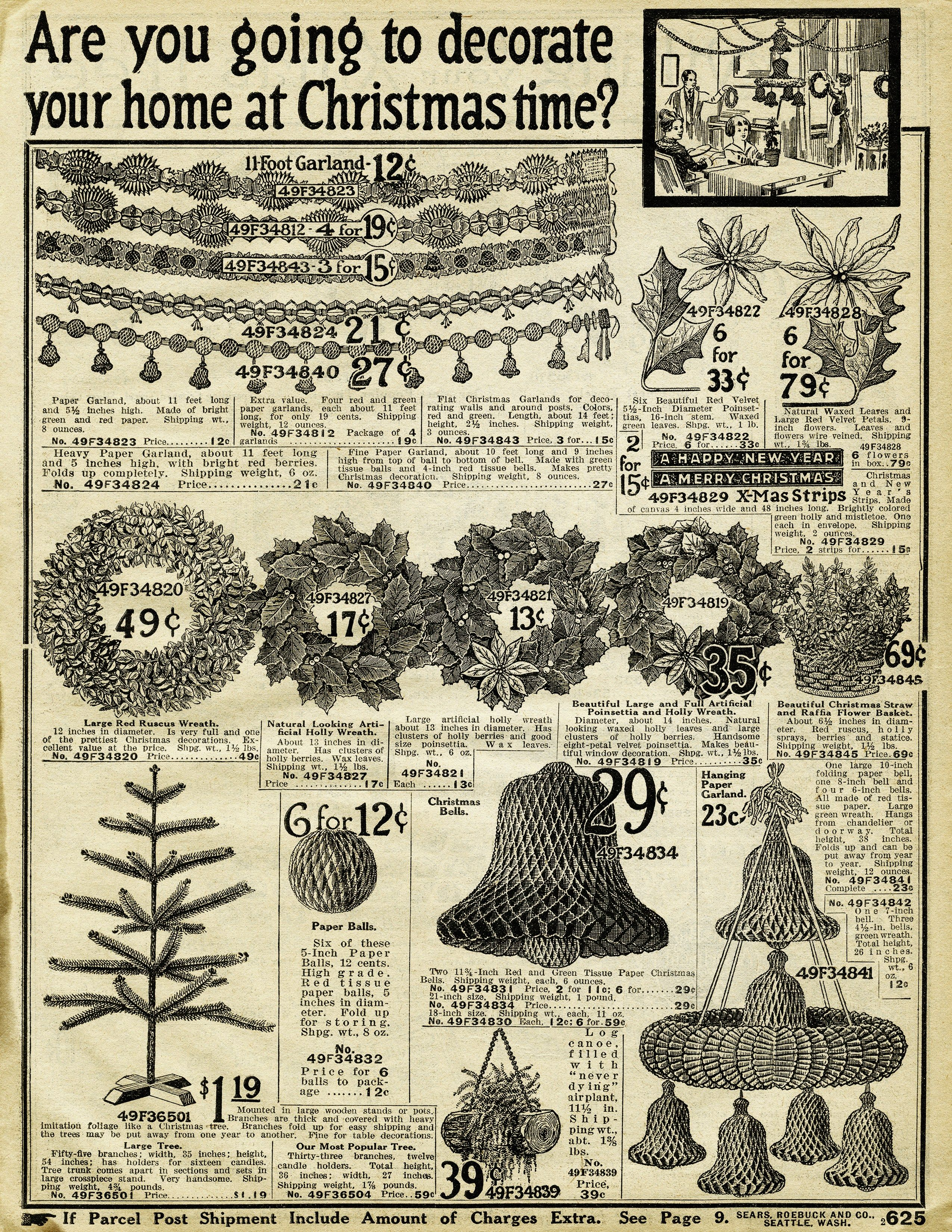 Vintage Christmas Printable Old Catalogue Page Antique Holiday Decorating Image Old Fashioned