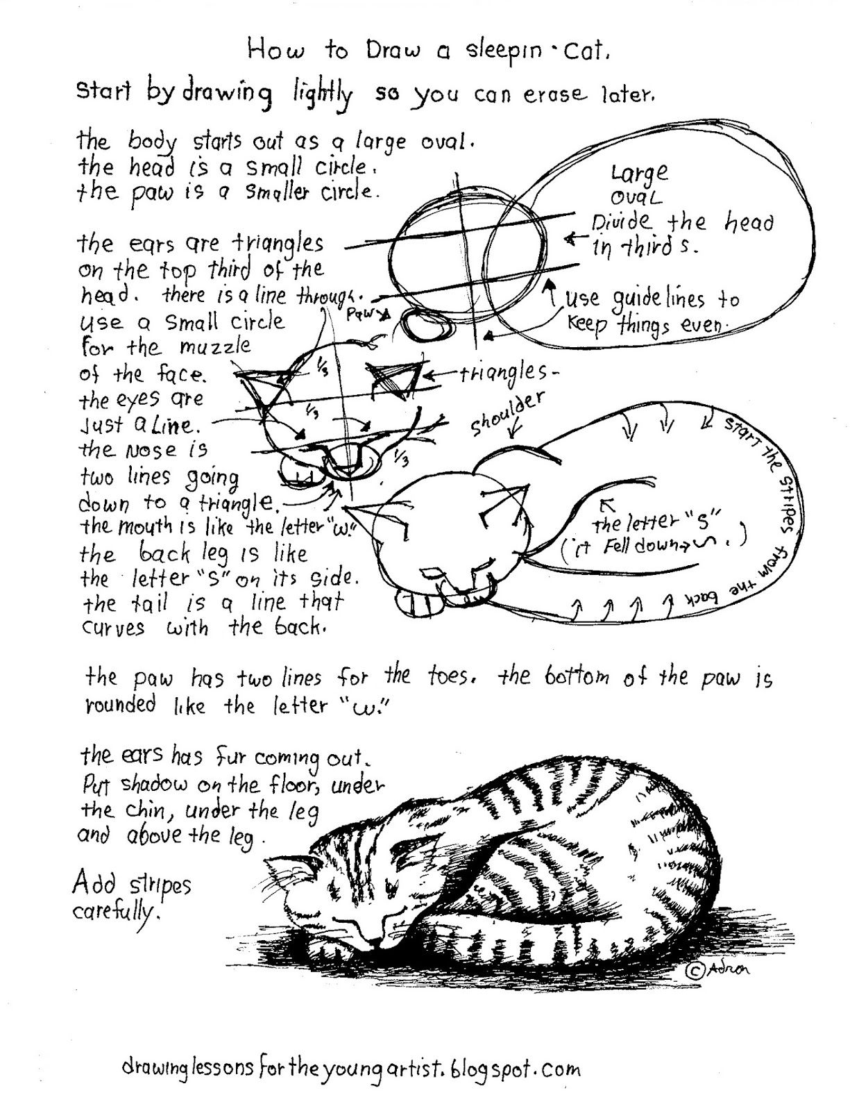 How To Draw Worksheets For The Young Artist How To Draw A Sleeping Cat A Printable Worksheet