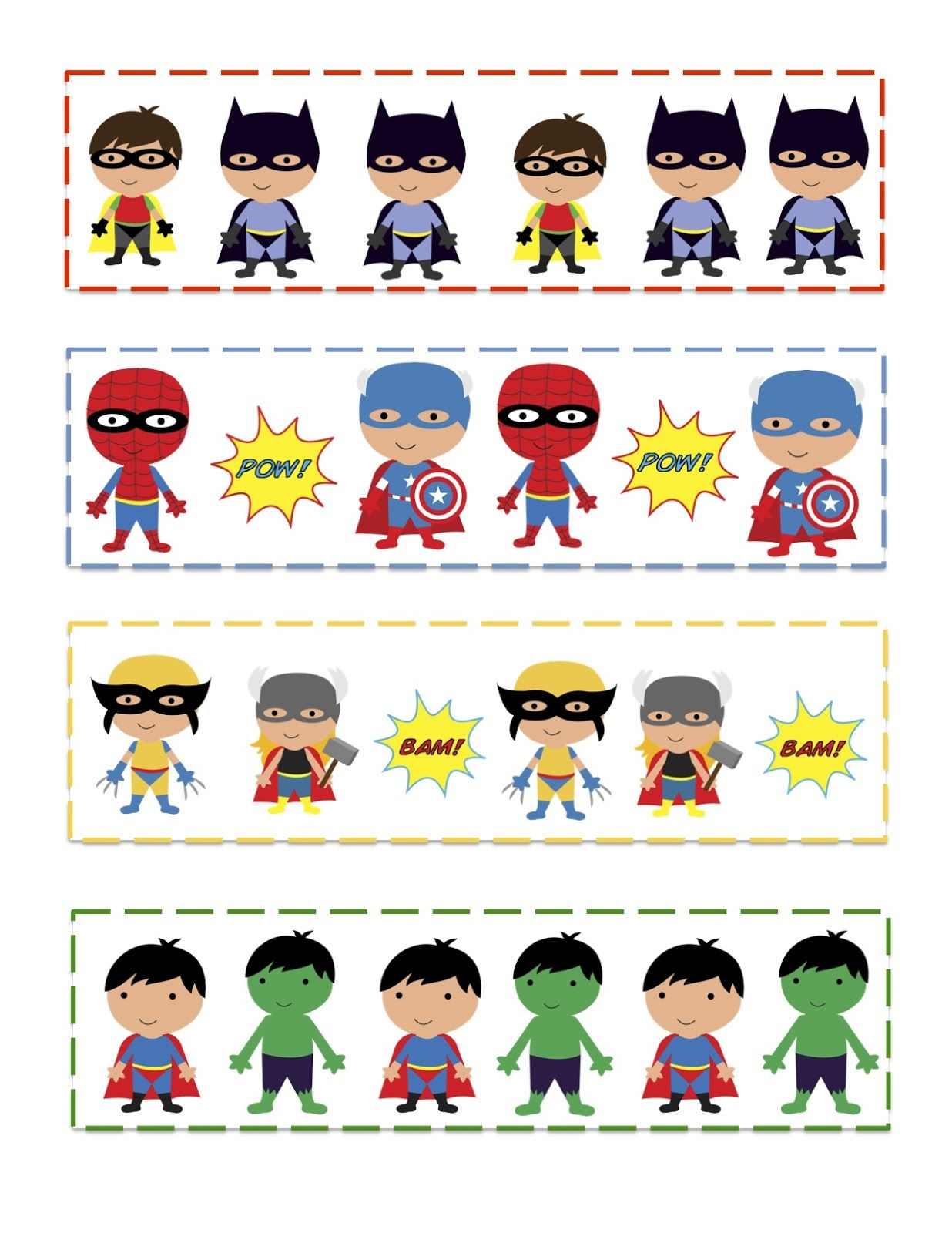 Preschool Printables Super Hero S Pattern Cards
