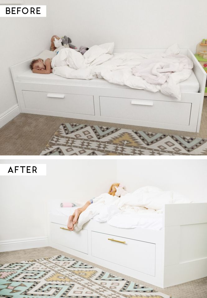 Ikea Hack Adding Brass Pulls To The Brimnes Bed