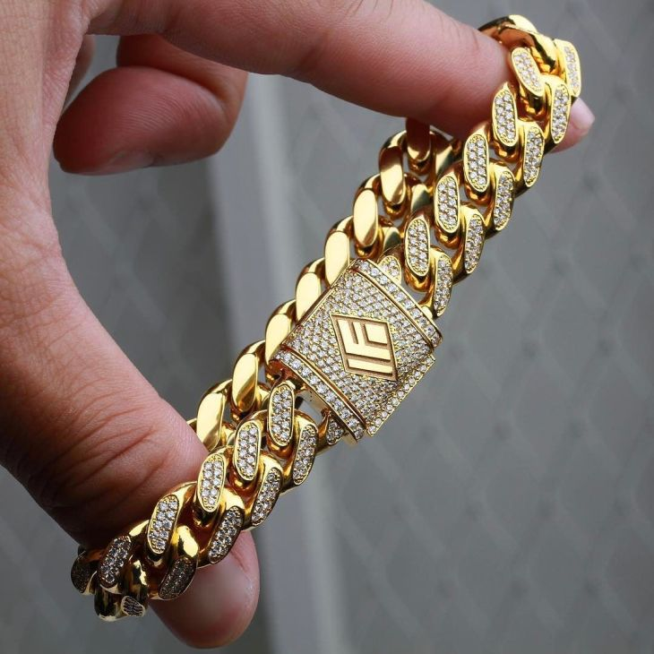 kt Solid Fully Iced Out Cuban Bracelets available now on