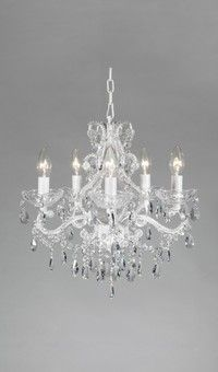 Angelique Clear Crystal White Shabby Chic French Provincial Chandelier 5 Lights