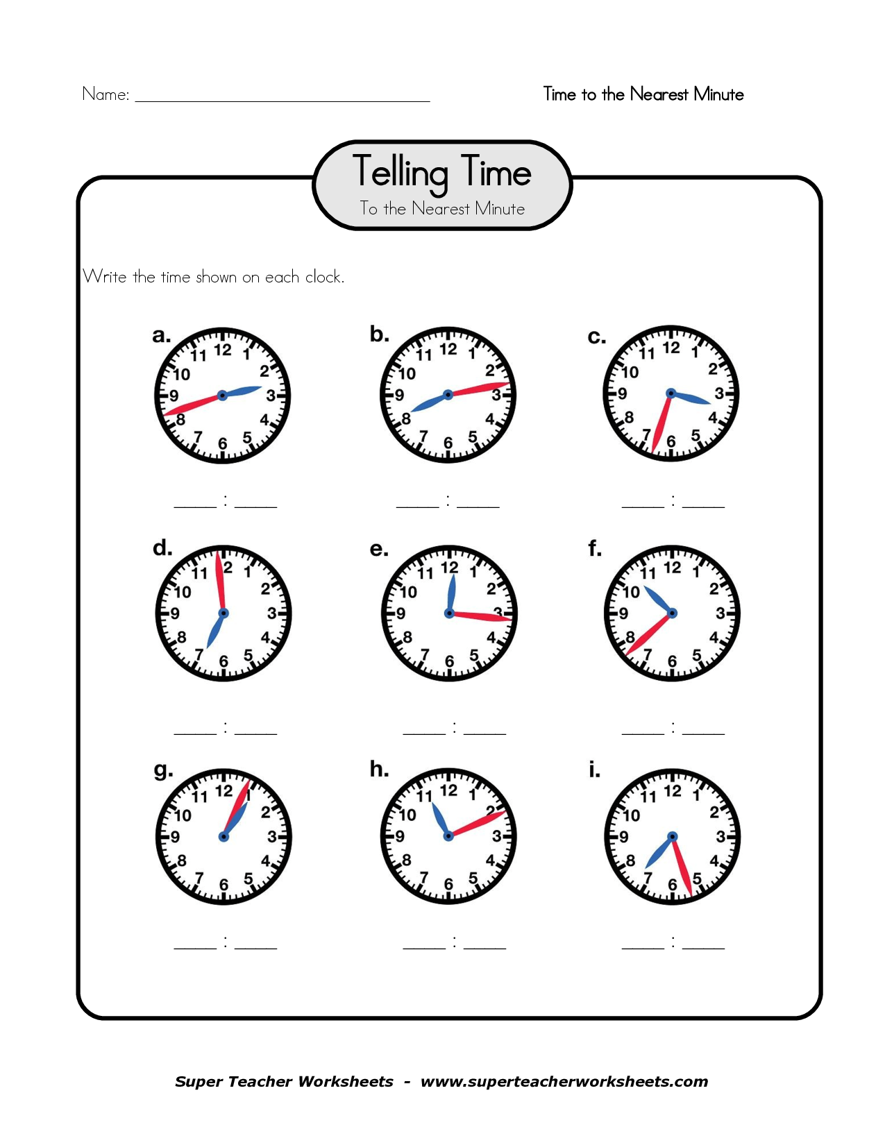 Clock Telling Time Worksheet Printable