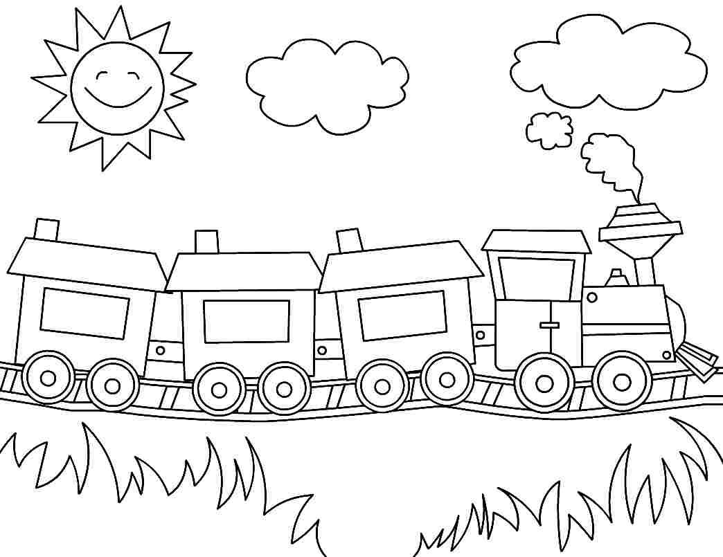 Printable Coloring Pages Transportation Train For Preschool