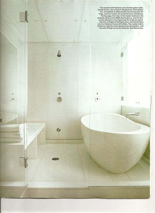 white bathroom, wet room combo and free standing tub ... on Wet Room With Freestanding Tub  id=77074