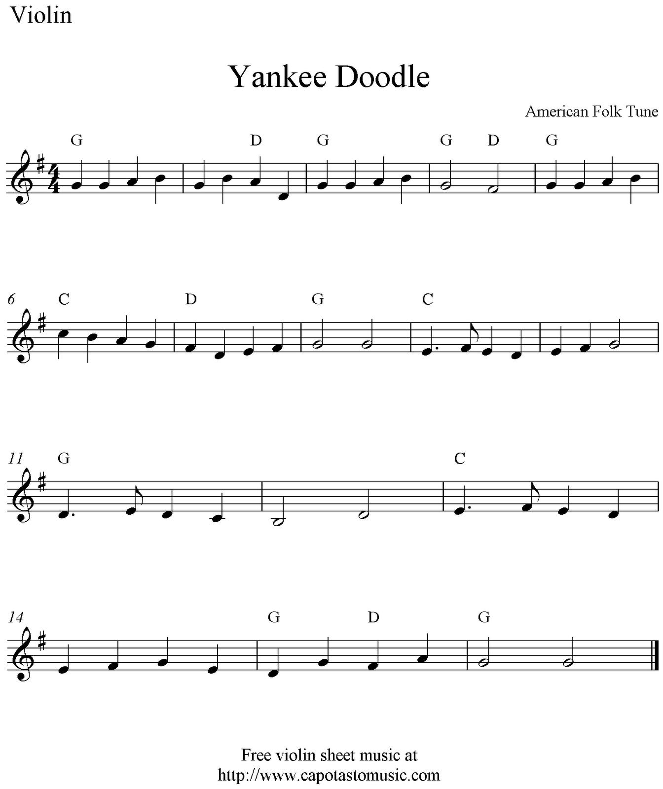 Free Sheet Music Scores Yankee Doodle Free Violin Sheet