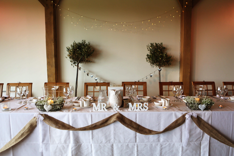 Rustic Head Table, Mr & Mrs, Burlap