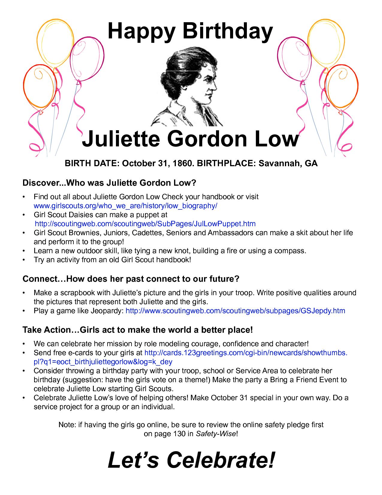Juliette Gordon Low Birthday Bash