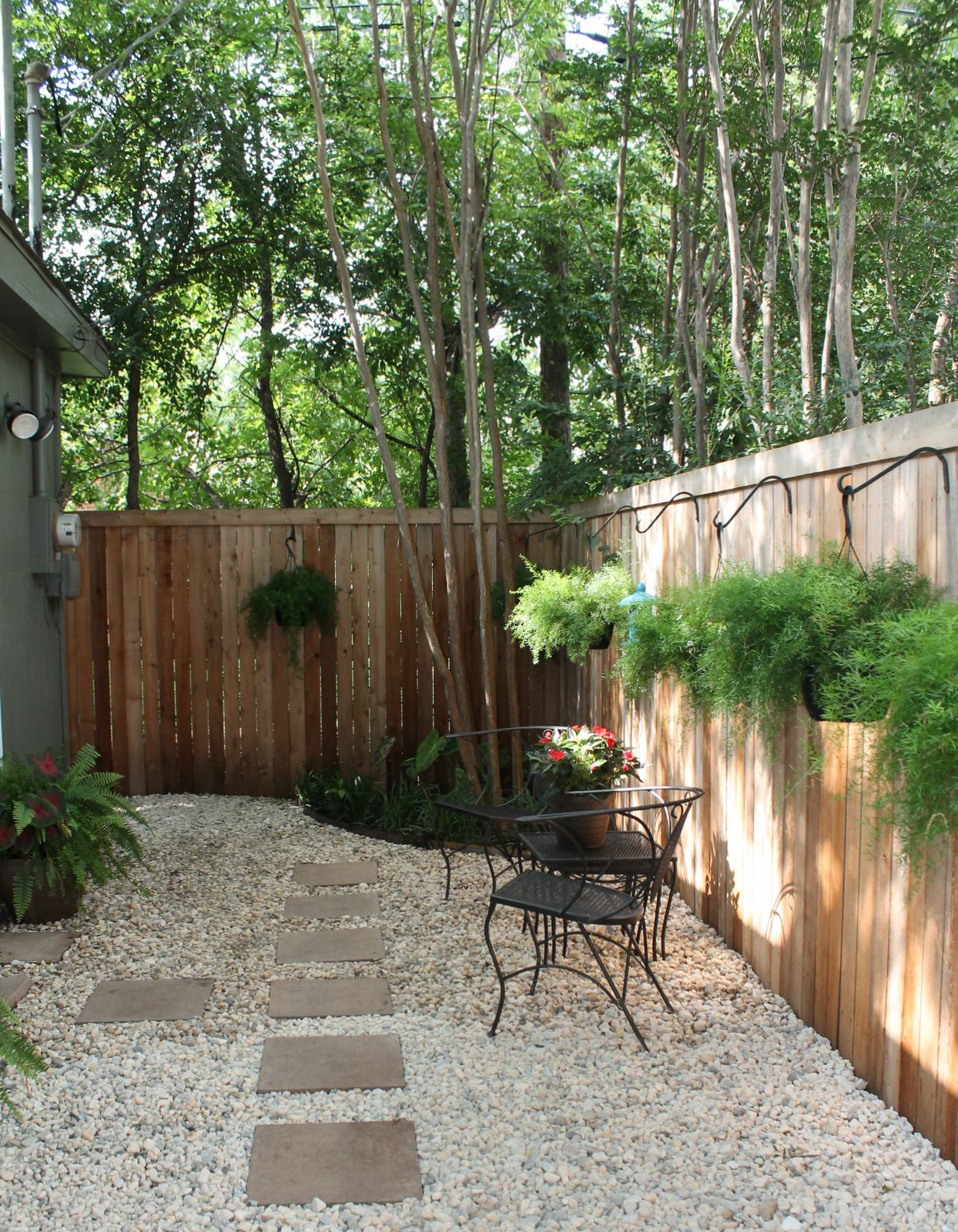 """Update: Rocks added to back """"yard"""" space to replace mulch ... on Cheap Backyard Ideas No Grass  id=23108"""