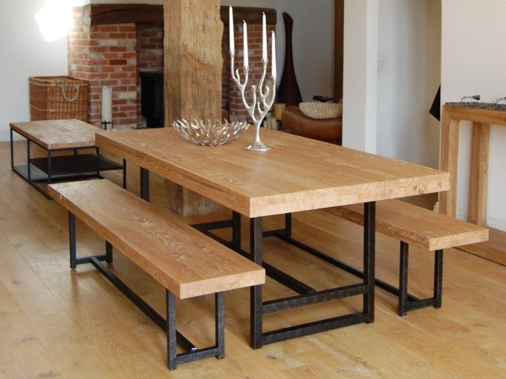 Furniture Rectangle Light Brown Wooden Table And Bench