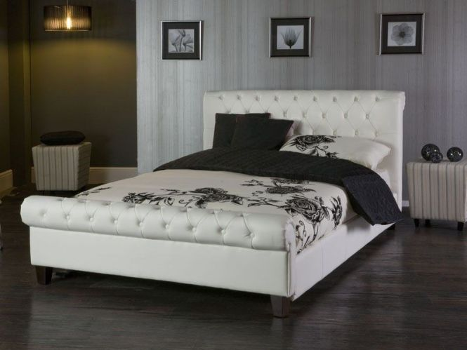 The Phoenix Is A Stunning White Faux Leather Bed With Rounded Headboard And Footboard