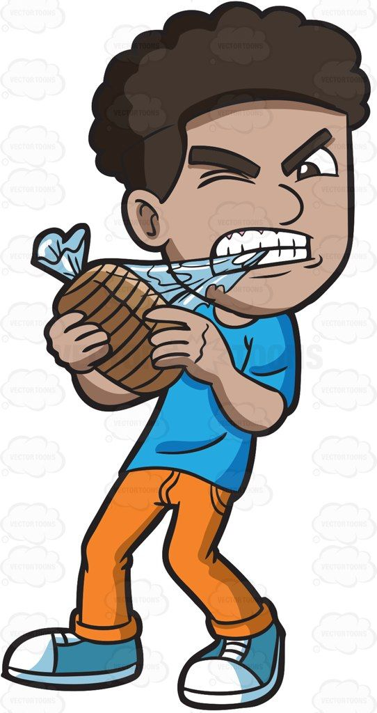 A black man ripping open a package of bread with his teeth ...