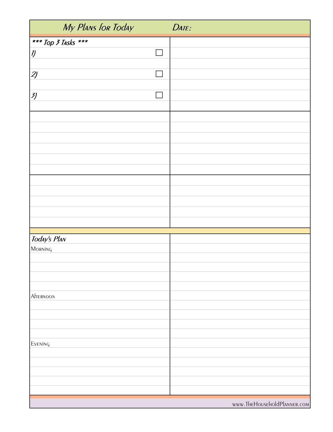 Daily Project Organizer Templates Free