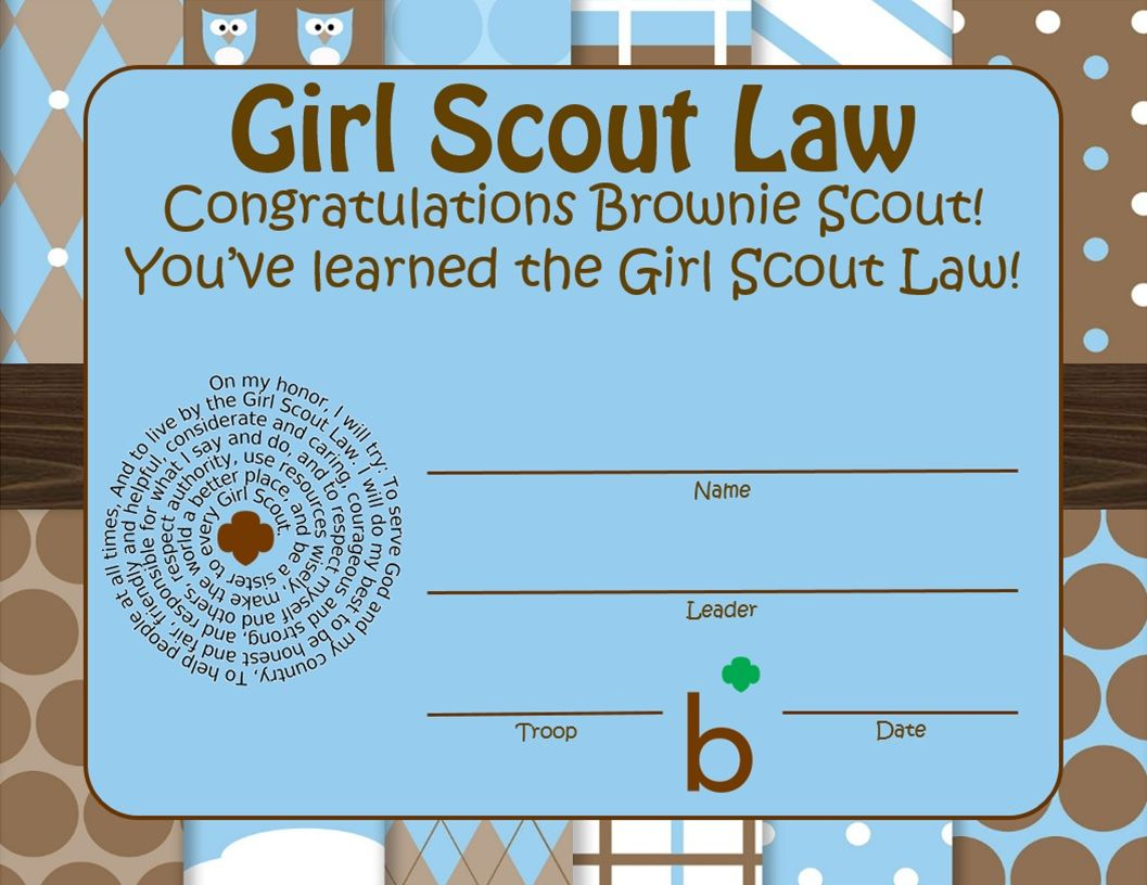 Brownie Girl Scout Law Learned Certificate