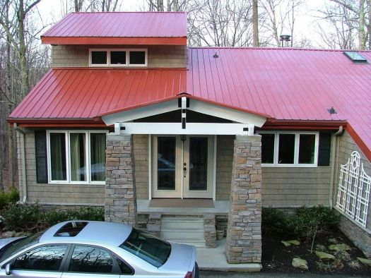 Country Red Metal Roof Exterior Of House New Stack Rock