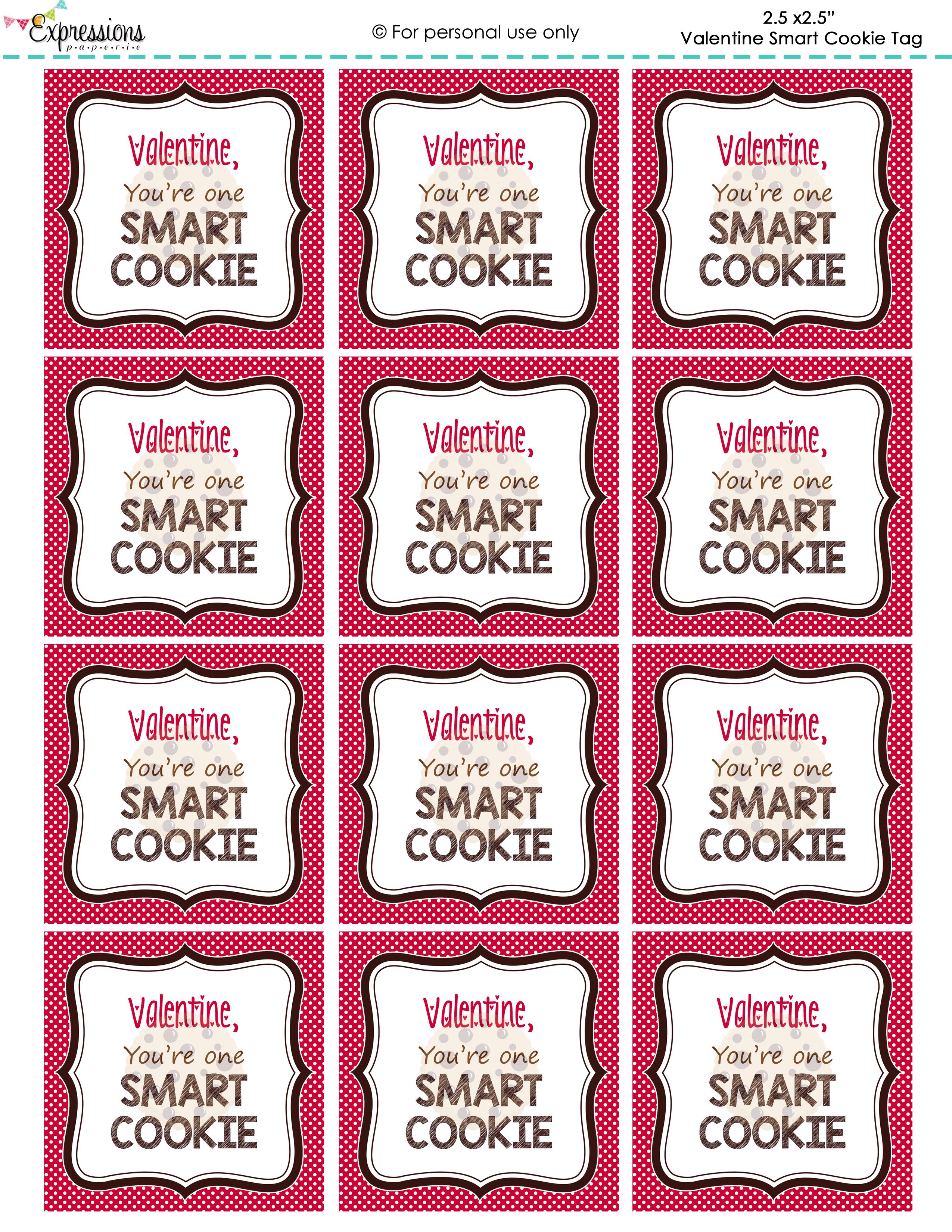 Freebie Valentine You Re One Smart Cookie Tags By Expressions Paperie I Attached These