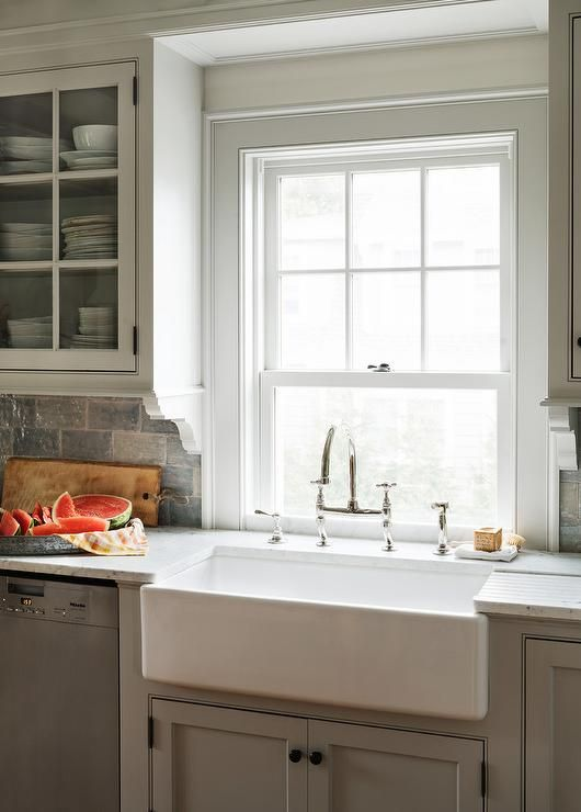 cottage kitchen features light gray shaker cabinets adorned with oil rubbed bronze hardware on farmhouse kitchen grey cabinets id=15676