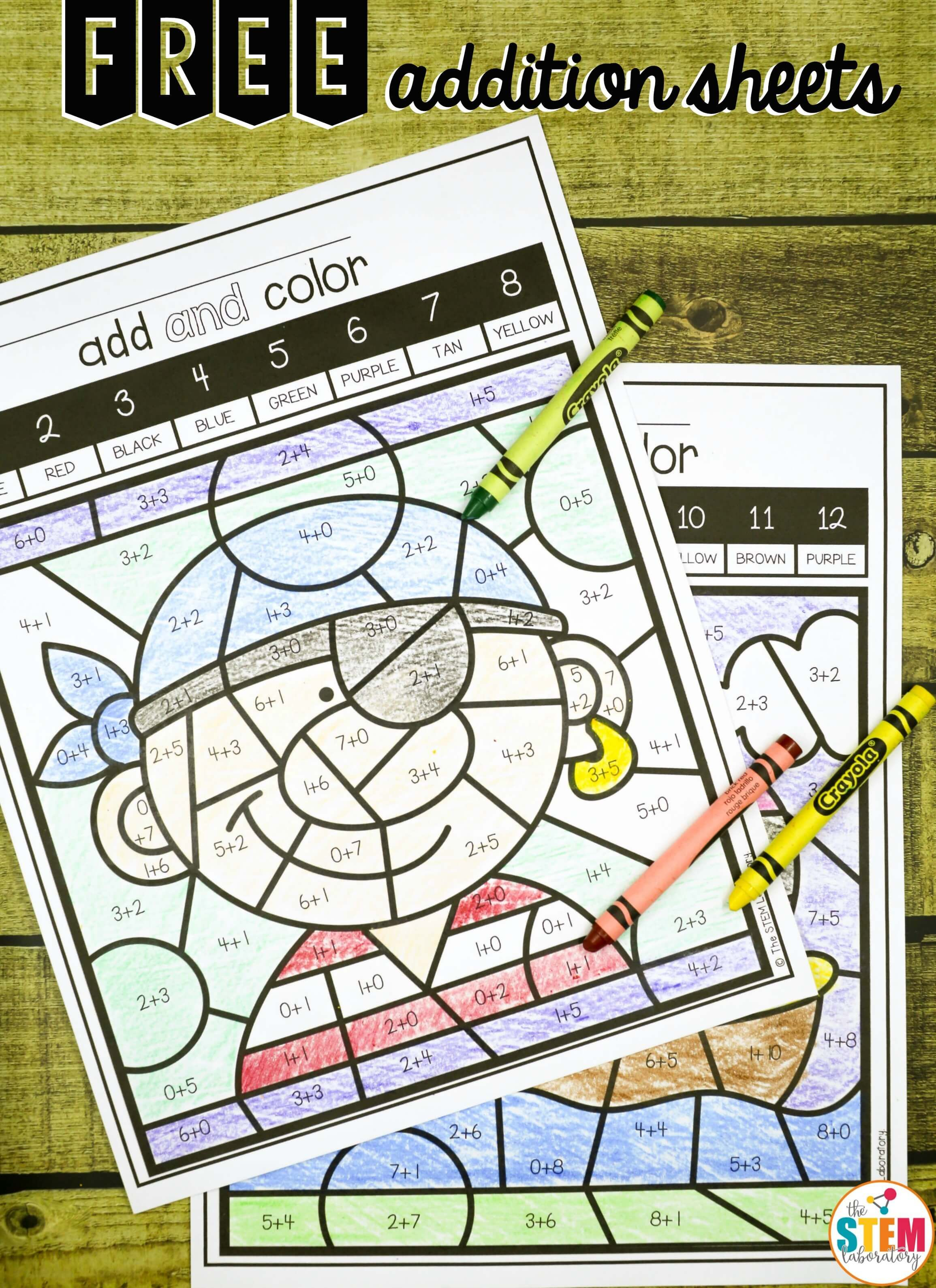 Free Color By Code Addition Sheets Fun Math Center And