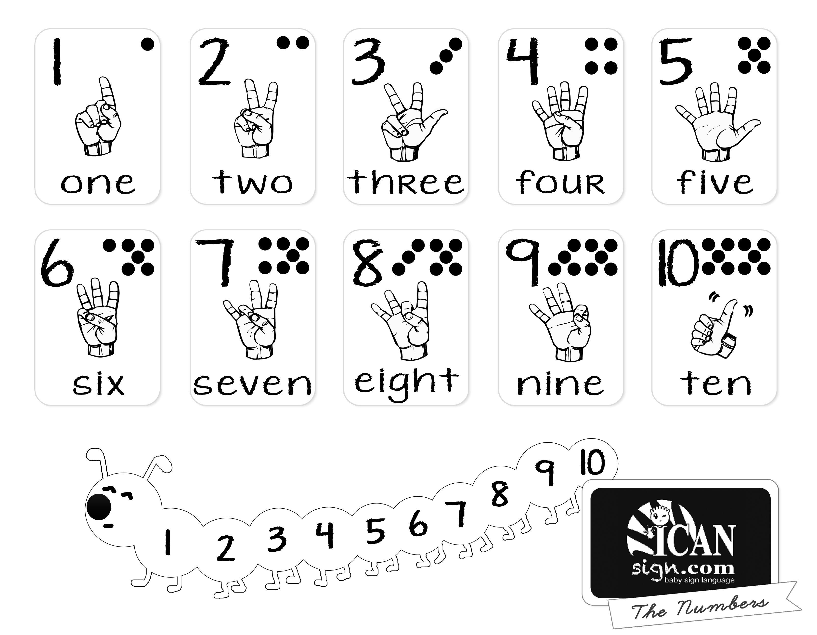 Printer-Friendly ASL Numbers Chart