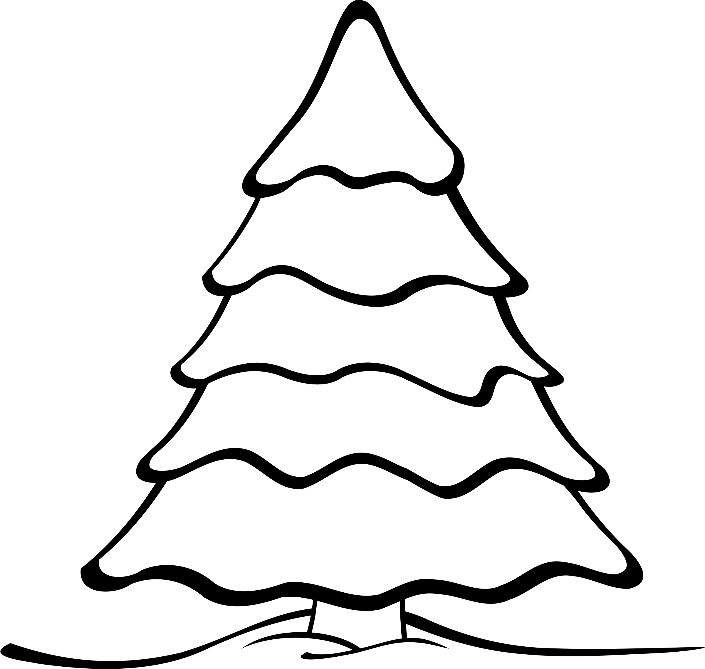 Black And White Christmas Tree Outline Christmas Ornament