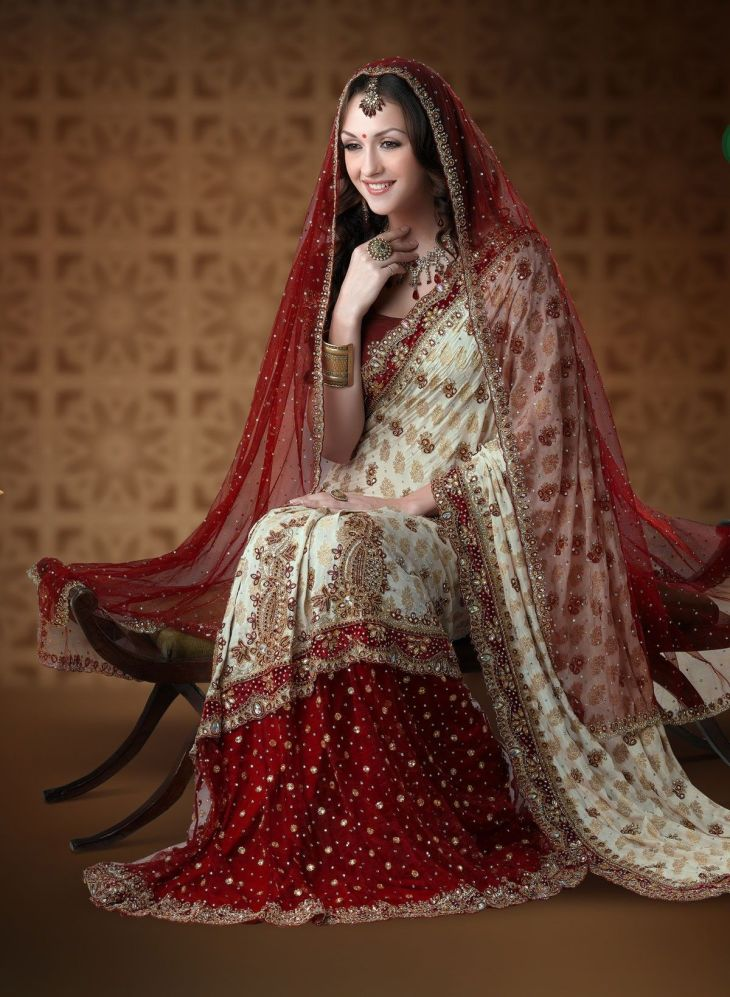 Ivory and maroon viscose net wedding saree  Makes the Day more