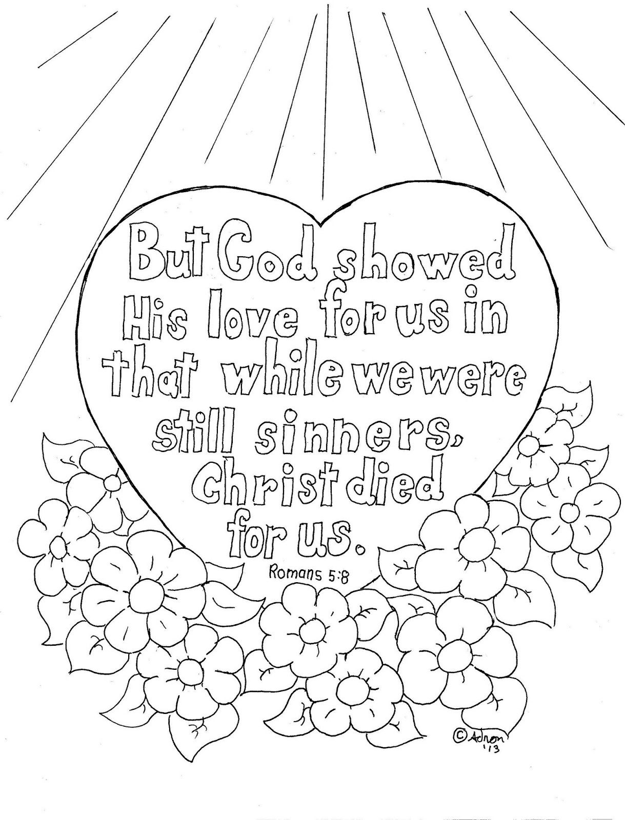 Coloring Pages For Kids By Mr Adron Romans 5 8 Coloring