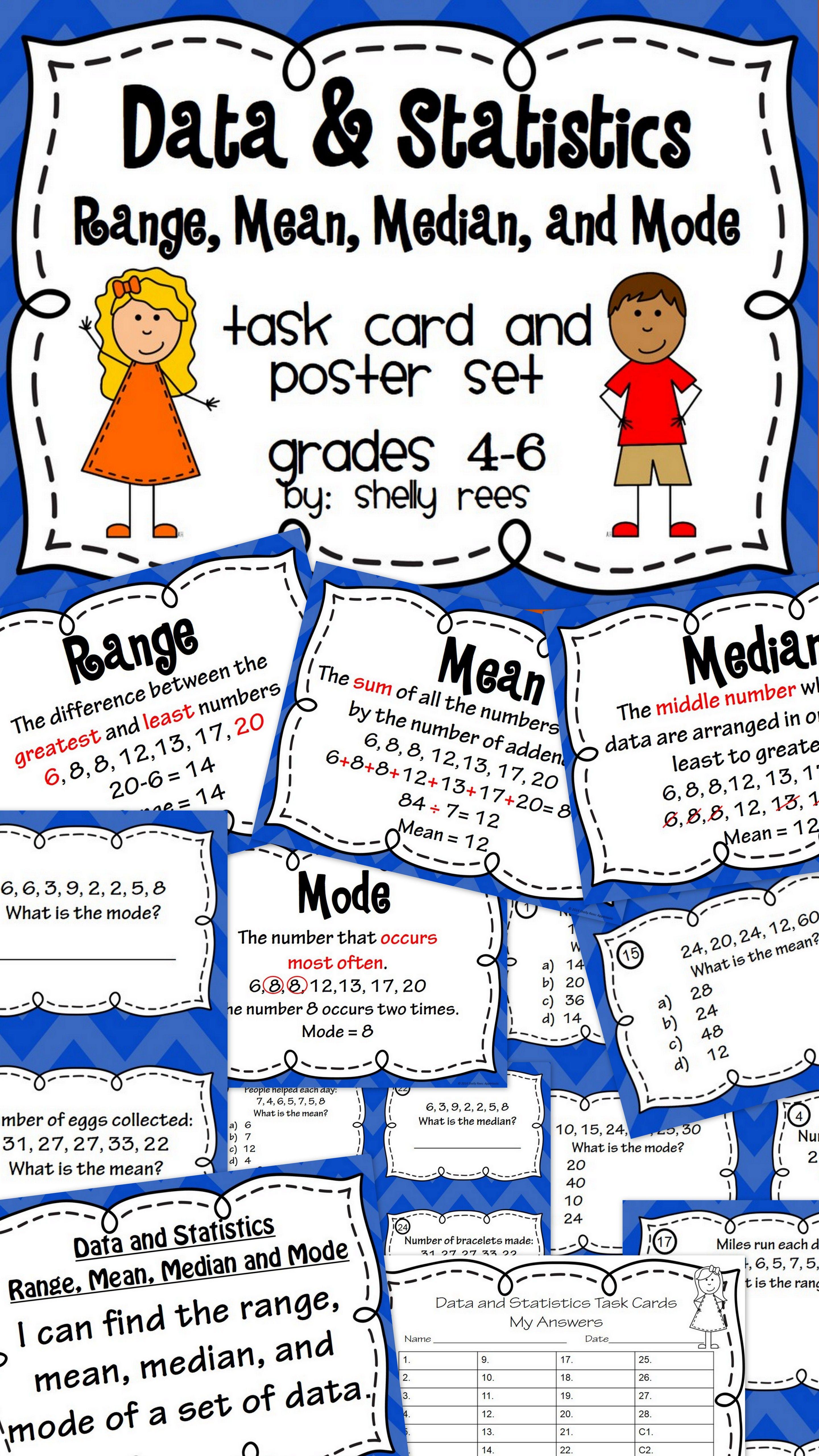 Mean Median Mode Range Task Card And Poster Set