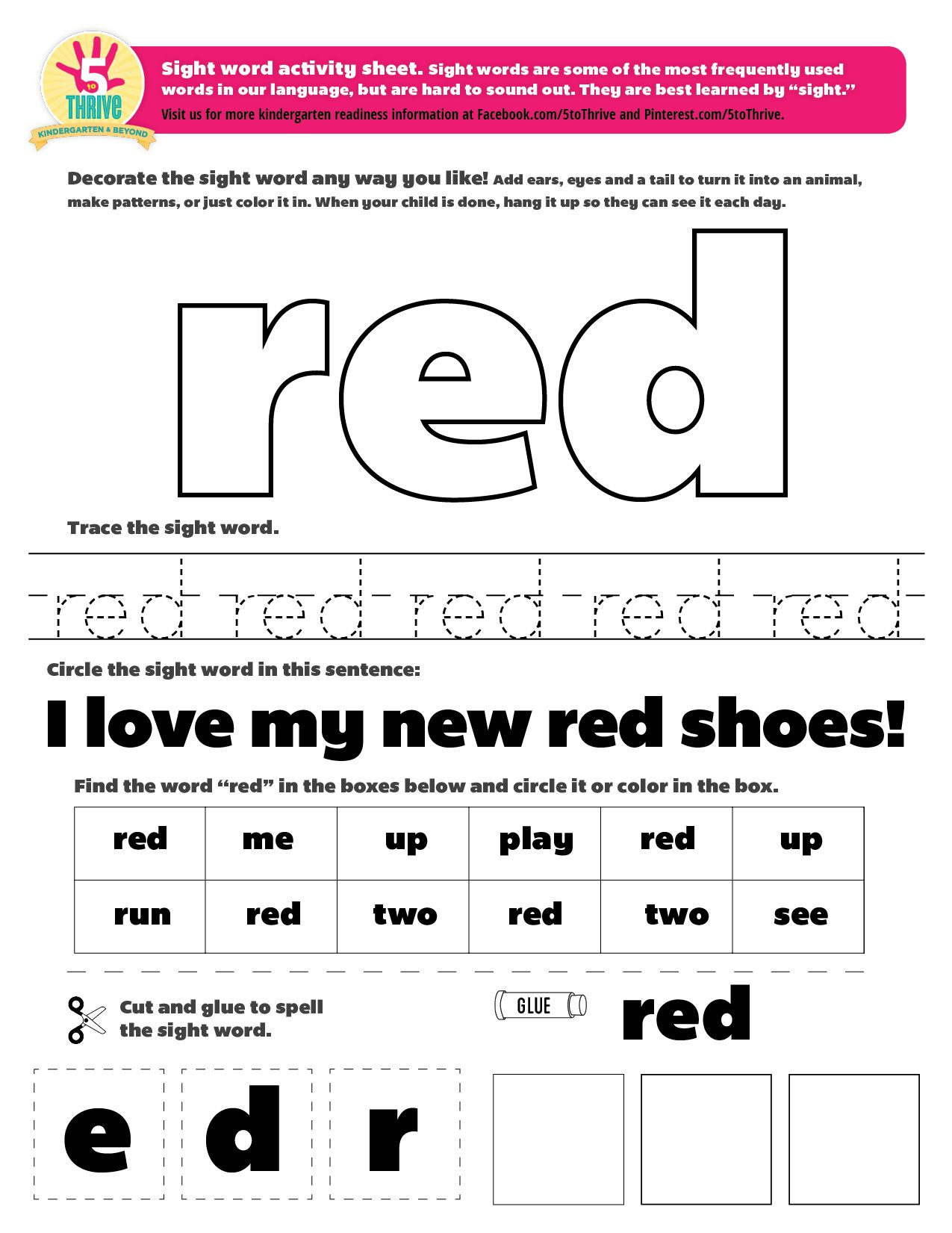 The Sight Word This Week Is Red Sight Words Are Some Of The Most Frequently Used Words In Our