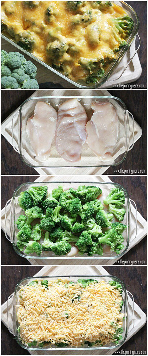 Broccoli & Cheddar Cheese!  My FAVORITE flavor combo!!!  This easy Broccoli Cheese Chicken Bake recipe can be prepped in 10