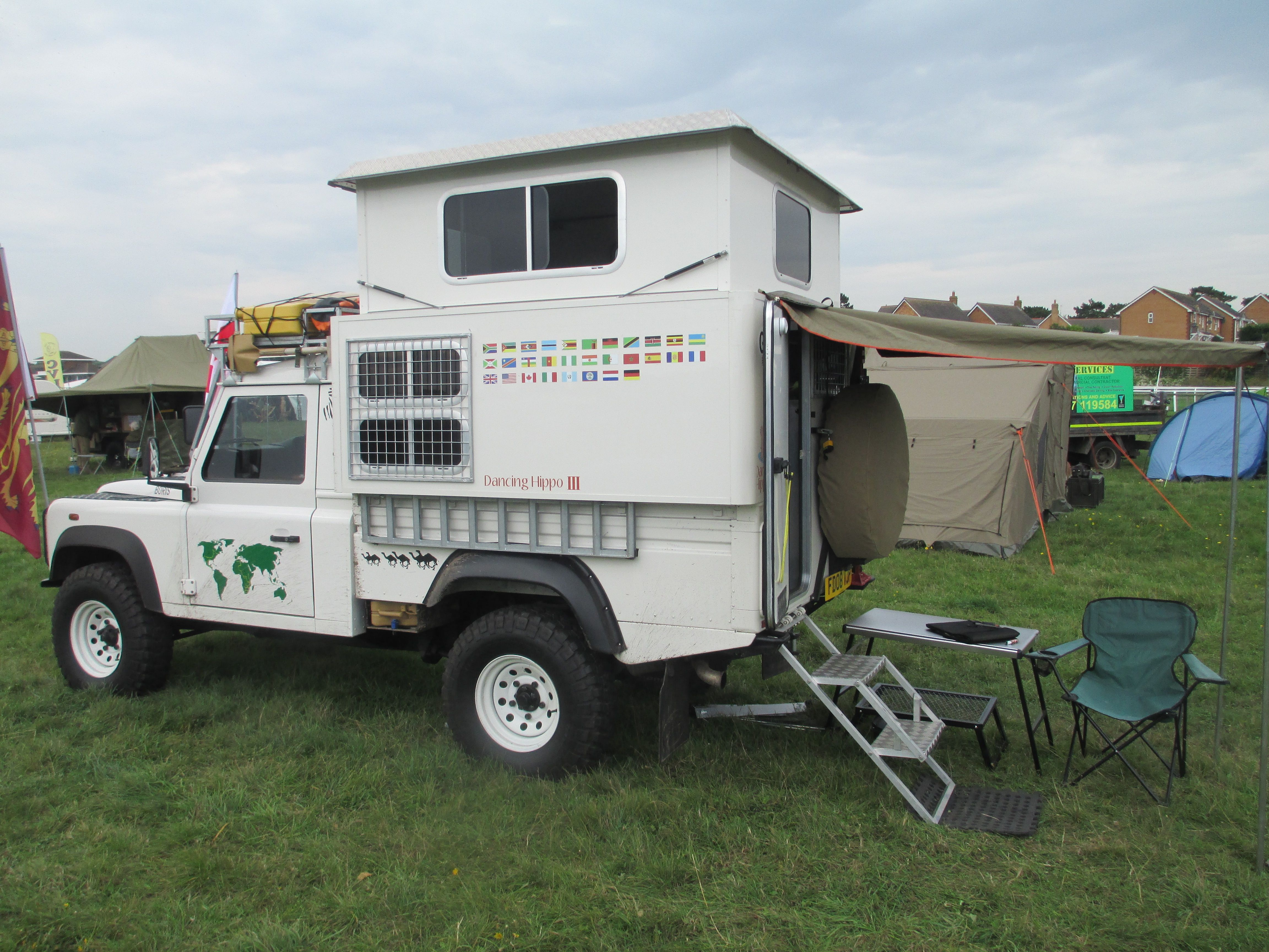 A neat pop up roof on a Landrover 110 4x4 Camper by
