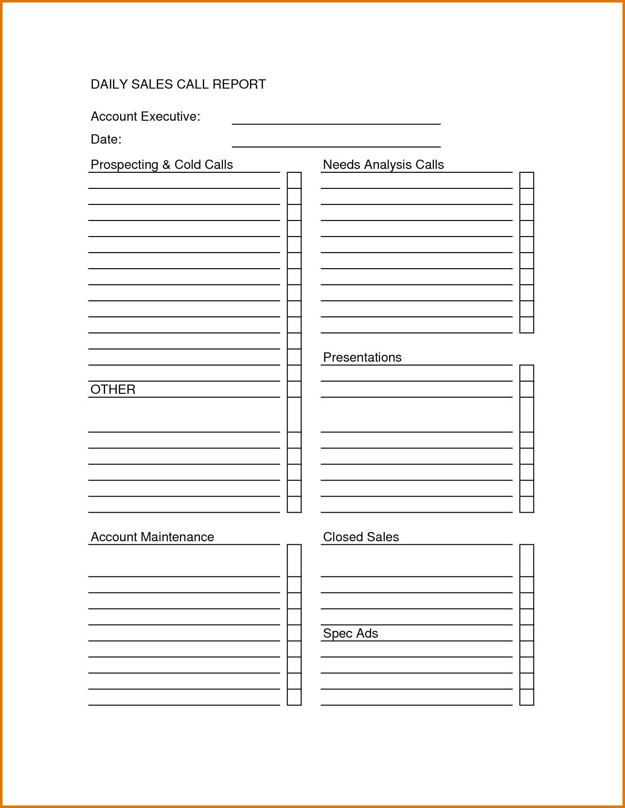 Sales Call Sheet Template Sales Call Report Sheet