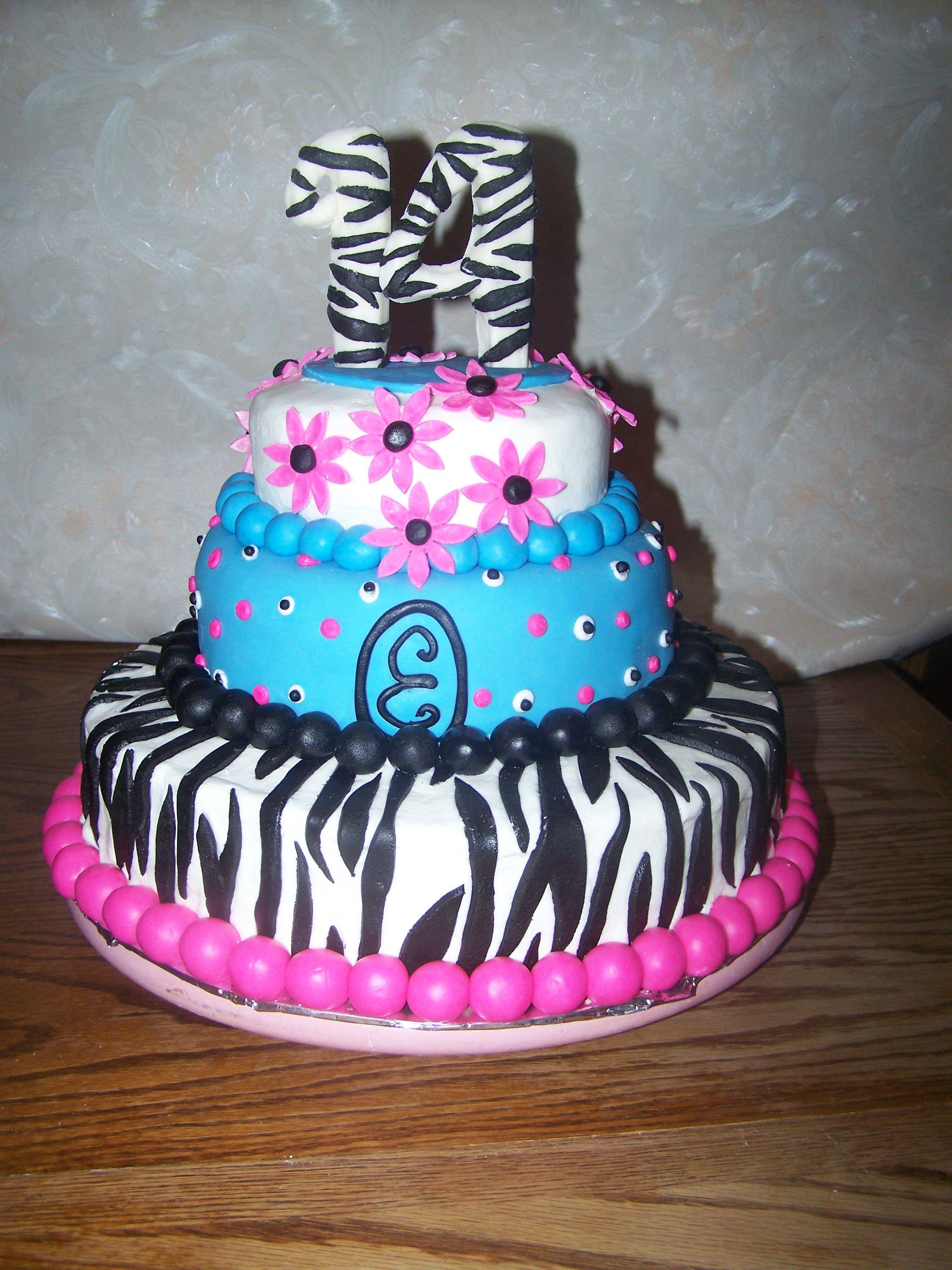 Teenage Girl Zebra Cake
