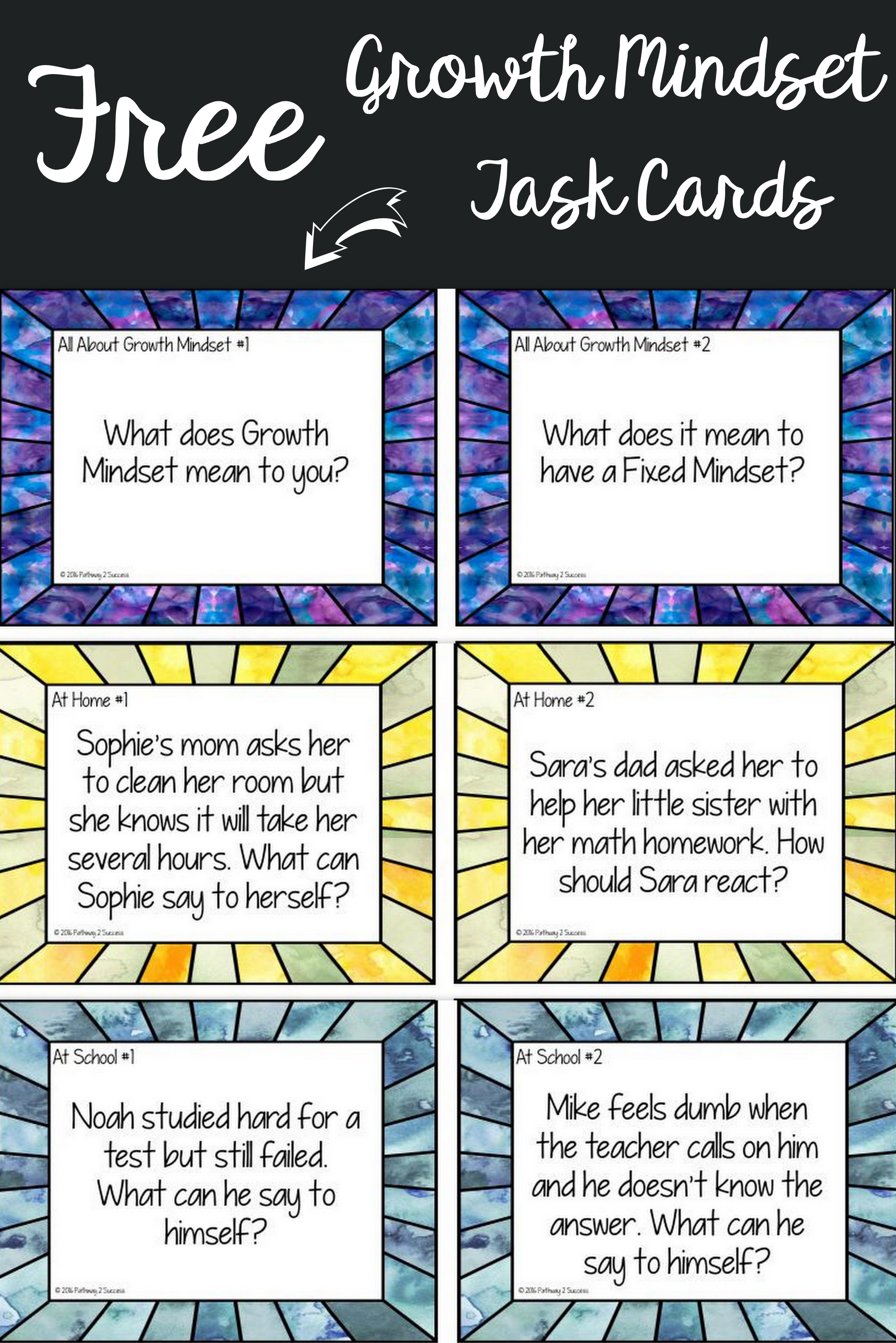 Free Growth Mindset Task Cards To Help Teach About